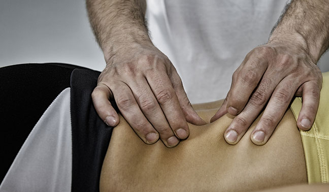 Myofascial release techniques performed on patient