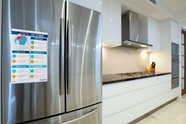 ice vs heat guide on a fridge in a kitchen