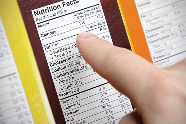 close up of nutritional information