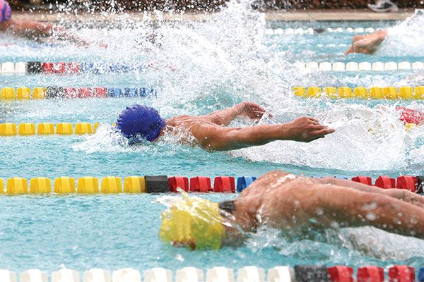 competitive swimmers in a race