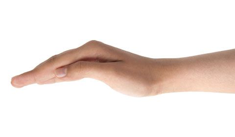 The correct hand position for chest percussions