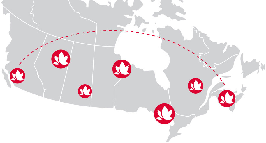 canada map showing stores locations